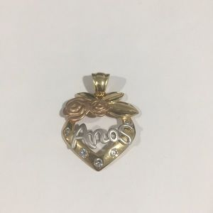 Jewelry - 14k Tri Color Gold Heart ❤️ Shape Anos Pendant